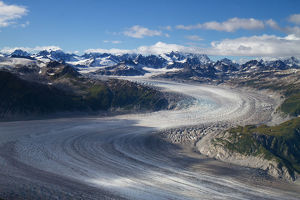 Aerial View Of A Meandering Glacier Within Lake Clark Pass, Southcentral Alaska