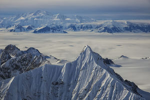 Aerial View Of The Mountains And Icefields In Kluane National Park; Yukon, Canada