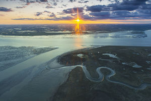 Aerial View Of The Sunset Over The Mouth Of The Kvichak River, Bristol Bay, Southwestern