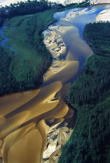 Aerial View Of Williams River That Runs Through Athabaska Dune Fields, Northern