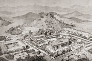 Artist's Impression Of Olympia, Greece, At The Time Of The Ancient Olympic Games