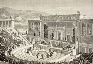 Artists Impression Of A Reconstructed Theatre Of Dionysus, On The Slopes Of The Acropolis
