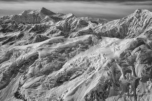 Black And White Aerial View Of The Mountains And Icefields In Kluane National Park; Yukon