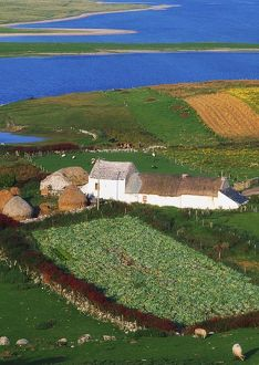 Bloody Foreland, Co Donegal, Ireland; Aerial View Of Farm Structures And Towards