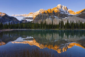 nature landscapes/bow lake crowfoot mountain sunrise banff national park