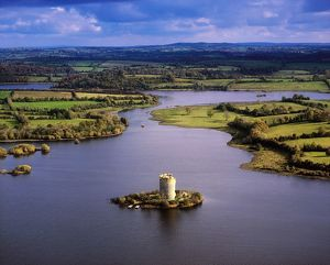 Cloughoughter Castle, Co Cavan, Ireland; Aerial View Of Lough Oughter And 13Th Century