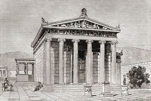 The Erechtheum At Athens, Greece. Ancient Greek Temple Dedicated To The Greek Hero