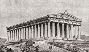 Exterior Of The Parthenon At Athens, Greece As It Would Have Appeared In Ancient Times