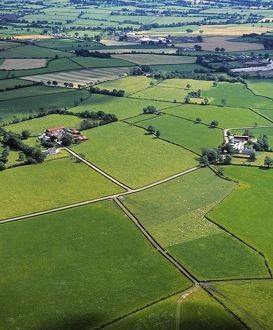 Co Fermanagh, Ireland; Aerial View Of Fields