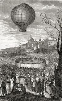 The First Aerial Voyage Paris France 21 October 1783 From The Book Wondeful Balloon