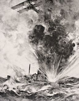 German Submarine Bombed And Sunk August 26 1915 By Squadron-Commander Arthur Wellesley