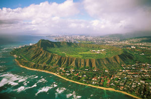 Hawaii, Oahu, Aerial Of Diamond Head Crater With Coastline View, Kahala Homes Foreground