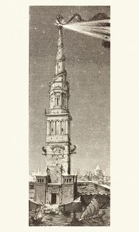 vintage/lighthouse pharos island alexandria egypt fanciful