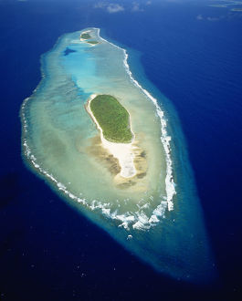 Micronesia, Aerial view of island near Ulithi Yap State; Losiep Atoll