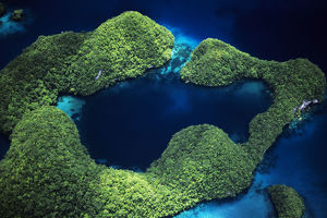 Micronesia, Palau, Aerial Of Rock Islands And Lagoon; Rock Islands