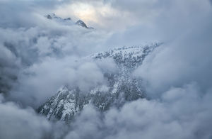 The Mountains Of Golden Ears Provincial Park Are Shrouded In Clouds In The Aerial