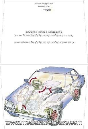 Cross section    diagram    of a car highlighting steering column   Greeting Card      13559745