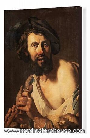 Canvas Print Of Man With Flute 1625 Oil On Canvas 18258069